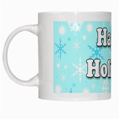 Happy Holidays Blue Pattern White Mugs by Valentinaart
