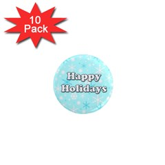 Happy Holidays Blue Pattern 1  Mini Magnet (10 Pack)  by Valentinaart