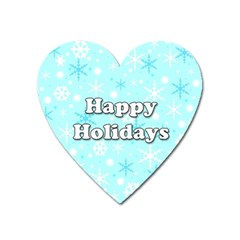 Happy Holidays Blue Pattern Heart Magnet by Valentinaart