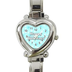 Happy Holidays Blue Pattern Heart Italian Charm Watch by Valentinaart