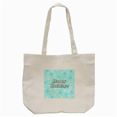 Happy Holidays Blue Pattern Tote Bag (cream) by Valentinaart