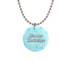Happy Holidays Blue Pattern Button Necklaces