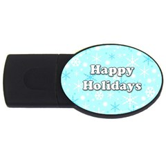 Happy Holidays Blue Pattern Usb Flash Drive Oval (4 Gb)  by Valentinaart