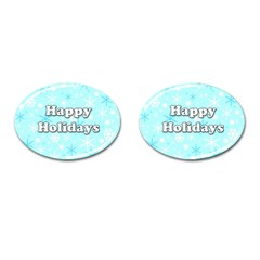 Happy Holidays Blue Pattern Cufflinks (oval) by Valentinaart