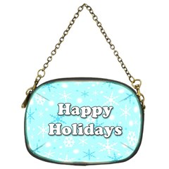 Happy Holidays Blue Pattern Chain Purses (one Side)  by Valentinaart