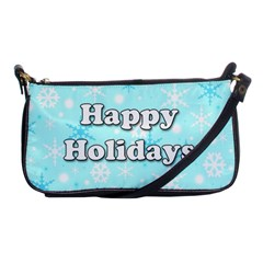 Happy Holidays Blue Pattern Shoulder Clutch Bags