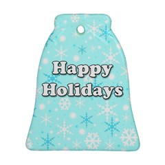 Happy Holidays Blue Pattern Bell Ornament (2 Sides) by Valentinaart