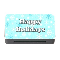 Happy Holidays Blue Pattern Memory Card Reader With Cf by Valentinaart