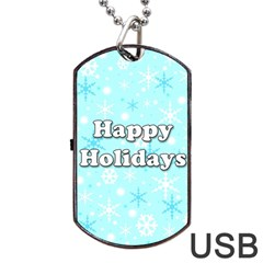 Happy Holidays Blue Pattern Dog Tag Usb Flash (one Side) by Valentinaart