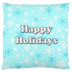 Happy Holidays Blue Pattern Large Cushion Case (one Side) by Valentinaart