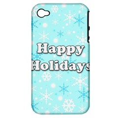 Happy Holidays Blue Pattern Apple Iphone 4/4s Hardshell Case (pc+silicone) by Valentinaart