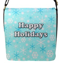 Happy Holidays Blue Pattern Flap Messenger Bag (s) by Valentinaart