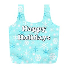 Happy Holidays Blue Pattern Full Print Recycle Bags (l)  by Valentinaart
