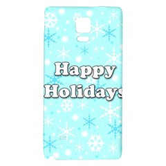 Happy Holidays Blue Pattern Galaxy Note 4 Back Case by Valentinaart
