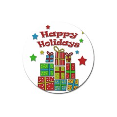 Happy Holidays   Gifts And Stars Magnet 3  (round) by Valentinaart