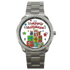 Happy Holidays   Gifts And Stars Sport Metal Watch by Valentinaart