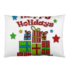 Happy Holidays   Gifts And Stars Pillow Case by Valentinaart