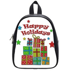 Happy Holidays   Gifts And Stars School Bags (small)  by Valentinaart