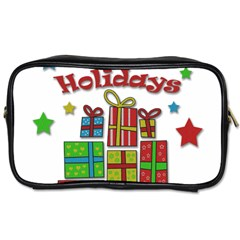 Happy Holidays   Gifts And Stars Toiletries Bags 2 Side