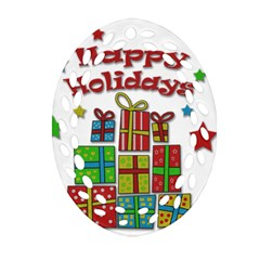 Happy Holidays   Gifts And Stars Ornament (oval Filigree)