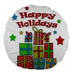 Happy Holidays   Gifts And Stars Large 18  Premium Round Cushions by Valentinaart