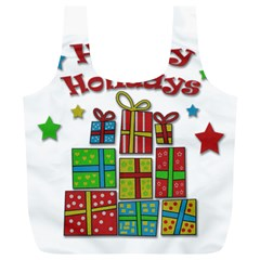 Happy Holidays   Gifts And Stars Full Print Recycle Bags (l)  by Valentinaart