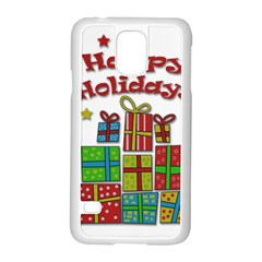 Happy Holidays   Gifts And Stars Samsung Galaxy S5 Case (white) by Valentinaart