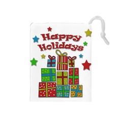 Happy Holidays   Gifts And Stars Drawstring Pouches (medium)