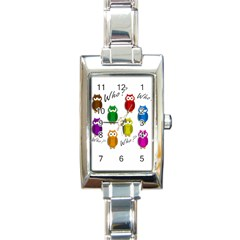 Cute Owls   Who? Rectangle Italian Charm Watch by Valentinaart