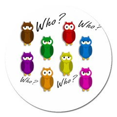 Cute Owls   Who? Magnet 5  (round) by Valentinaart
