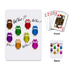 Cute Owls   Who? Playing Card by Valentinaart