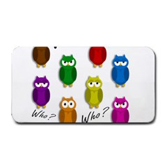 Cute Owls   Who? Medium Bar Mats by Valentinaart