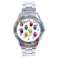 Cute Owls   Who? Stainless Steel Analogue Watch by Valentinaart
