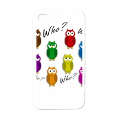 Cute Owls   Who? Apple Iphone 4 Case (white) by Valentinaart