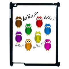 Cute Owls   Who? Apple Ipad 2 Case (black) by Valentinaart