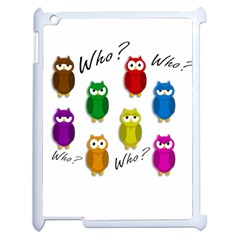 Cute Owls   Who? Apple Ipad 2 Case (white) by Valentinaart