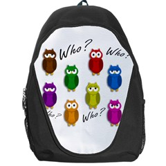 Cute Owls   Who? Backpack Bag by Valentinaart