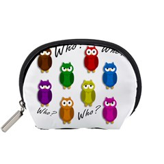 Cute Owls   Who? Accessory Pouches (small)  by Valentinaart