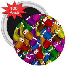 Cute Owls Mess 3  Magnets (100 Pack) by Valentinaart