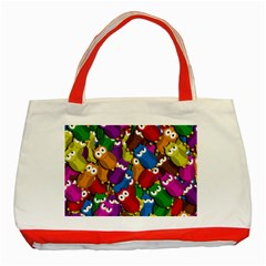 Cute Owls Mess Classic Tote Bag (red) by Valentinaart