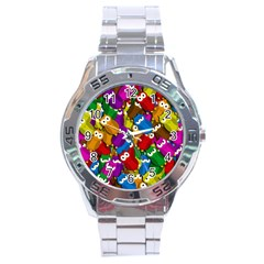Cute Owls Mess Stainless Steel Analogue Watch by Valentinaart
