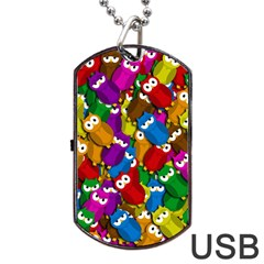 Cute Owls Mess Dog Tag Usb Flash (two Sides)  by Valentinaart