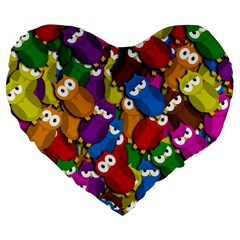 Cute Owls Mess Large 19  Premium Flano Heart Shape Cushions by Valentinaart