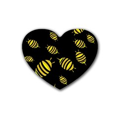 Decorative Bees Rubber Coaster (heart)  by Valentinaart