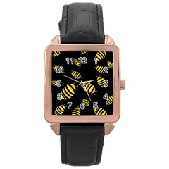 Decorative Bees Rose Gold Leather Watch  by Valentinaart