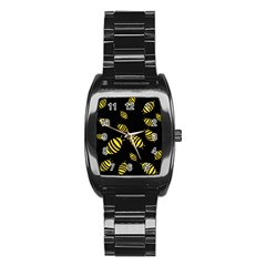 Decorative Bees Stainless Steel Barrel Watch by Valentinaart