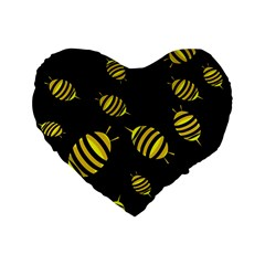 Decorative Bees Standard 16  Premium Flano Heart Shape Cushions by Valentinaart
