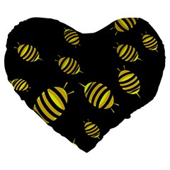 Decorative Bees Large 19  Premium Flano Heart Shape Cushions by Valentinaart