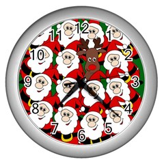 Did You See Rudolph? Wall Clocks (silver)  by Valentinaart