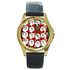 Did You See Rudolph? Round Gold Metal Watch by Valentinaart